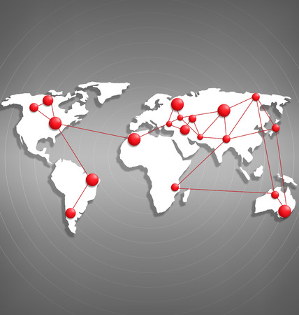 red point: World map with red point marks on grayscale background Illustration