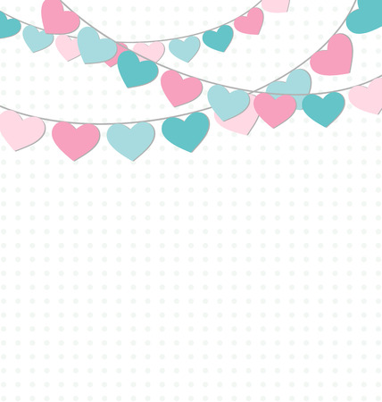 decoration: Hearts buntings garlands on white background Illustration