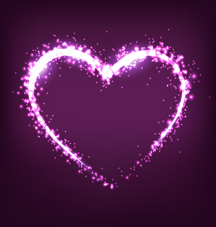 blinding: Sparkling heart on violet background Illustration