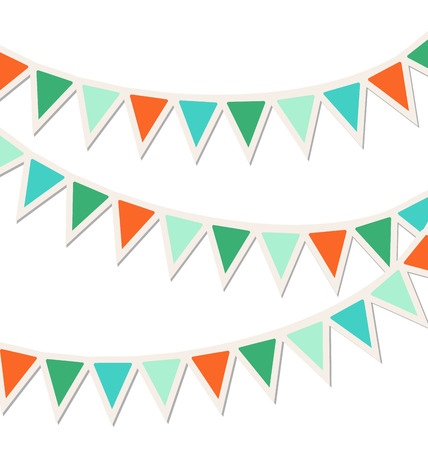 enjoyment: Set of multicolored flat buntings garlands isolated on white background