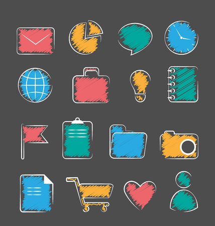 portmanteau: Set of business office flat hand-drawn icons isolated on gray background Stock Photo