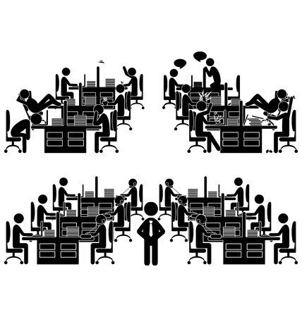 Set of flat office situation icons isolated on white background