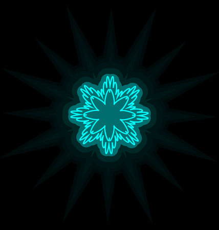 Self-illuminated cyan snowflake isolated on black background