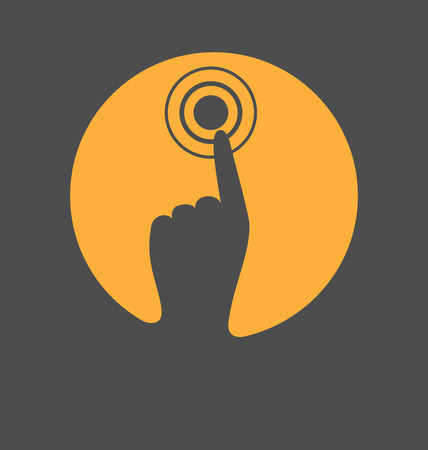 Icon with hand finger press on touchscreen isolated on gray background photo