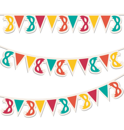 Multicolored buntings with carnival masks isolated on white background photo