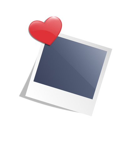 office romance: Love photo frame on wall with red heart magnet isolated on white background