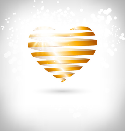 grayscale background: Golden Spiral heart with glow on grayscale background