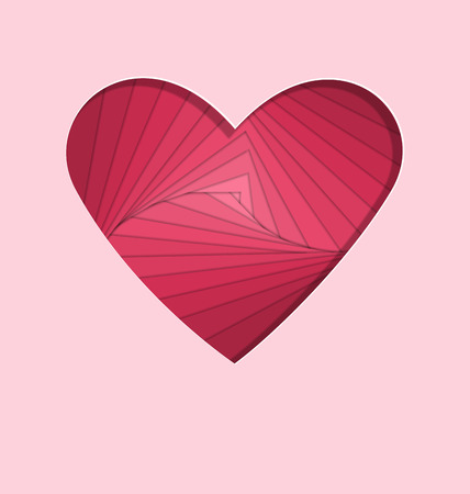paper folding: hand-made paper folding heart isolated on pink background Stock Photo