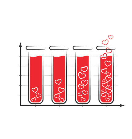 greet card: Fun love infographic icon with tubes of blood isolated on white background