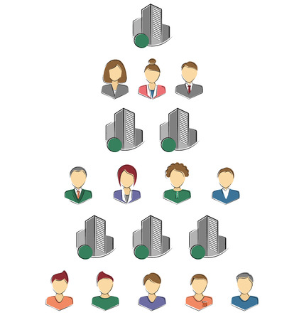 Flat icons of persons and buildings for infographic isolated on white background photo