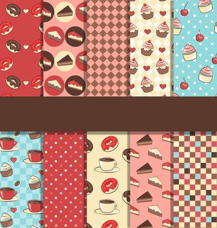 Set of 10 seamless sweet patterns Vector