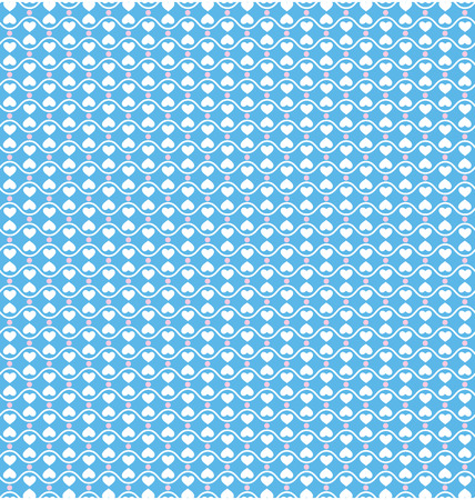 Seamless love pattern. White hearts and pink dots on blue background