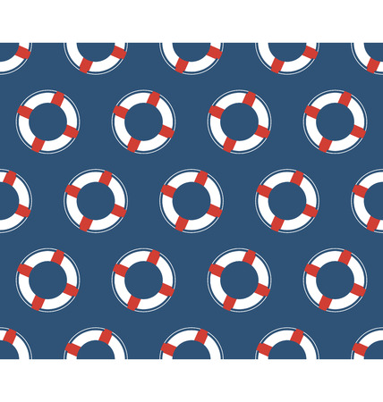 lifeline: Seamless sea pattern. White lifebuoy on blue background