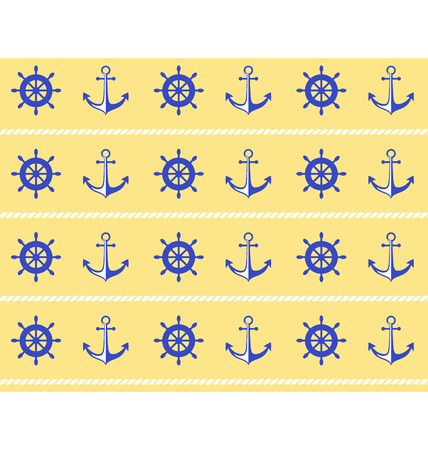 stern: Seamless sea pattern. Blue wheel and stern anchor on yellow background