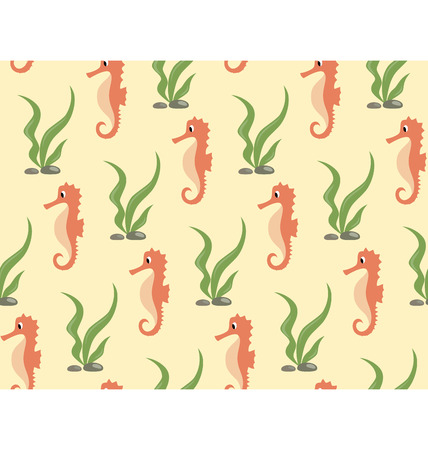 seahorse: Seamless sea pattern. Orange seahorse and green algae on yellow background