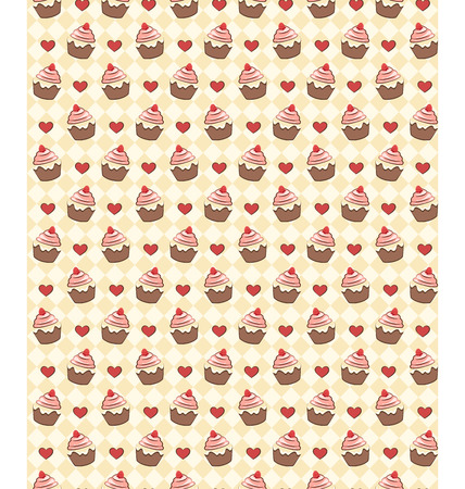 greet card: Seamless sweet pattern with cupcake and hearts on yellow background
