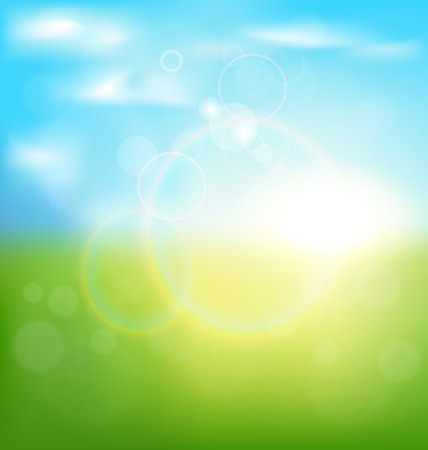 Abstract spring background with sunrise and grass Ilustração