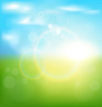 primavera: Fondo abstracto del resorte con la salida del sol y la hierba