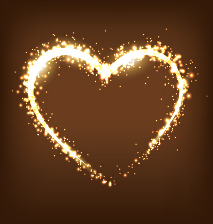 blinding: Sparkling heart on brown background