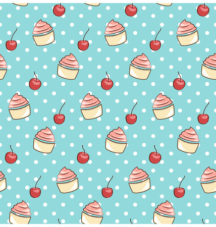greet card: seamless sweet pattern with cupcake and cherry