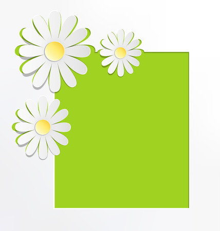 greet card: Three cutout chamomiles with frame on grayscale. Floral spring abstract background