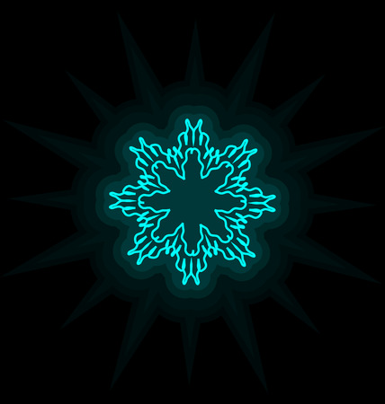 december holiday: Self-illuminated cyan snowflake isolated on black background