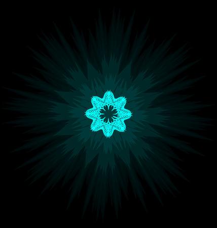 Self-illuminated cyan snowflake isolated on black background