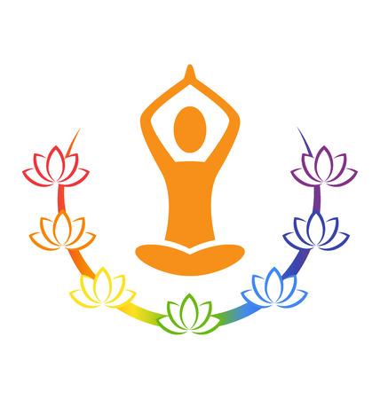 Emblem Yoga pose with chakra lotuses isolated on white background
