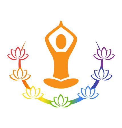 Emblem Yoga pose with chakra lotuses isolated on white background