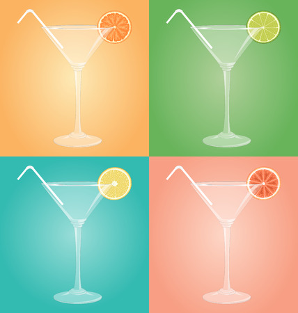 Empty glasses for martini with citrus and plastic tube on different multicolored backgrounds