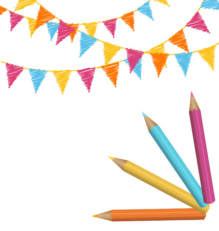 greet card: Pencils with multicolored buntings isolated on white background Illustration