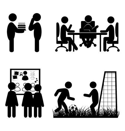 corporative: Set of flat office internal communications icons isolated on white background