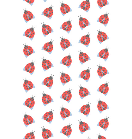 lady cow: Spring seamless pattern with ladybugs isolated on white background Stock Photo