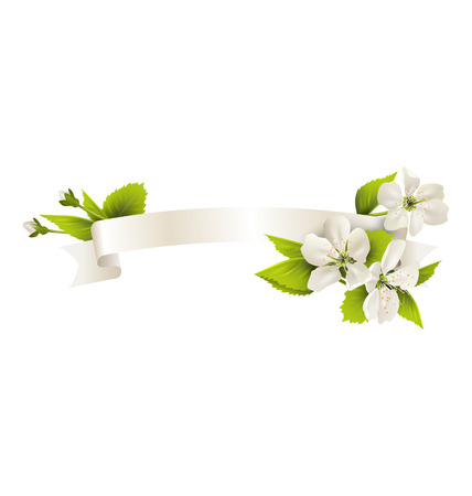 Festive satin ribbon garland flag with cherry flowers isolated on white background photo