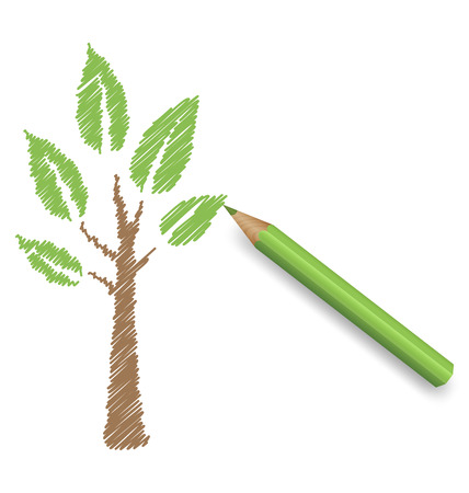 Pencil draws green tree. Eco spring floral background photo