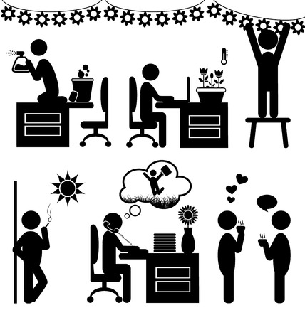 smoking place: Set of flat office spring icons isolated on white background Stock Photo