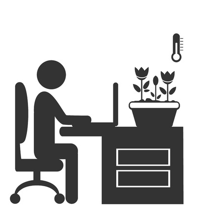 Flat office spring icon isolated on white background Stock Photo