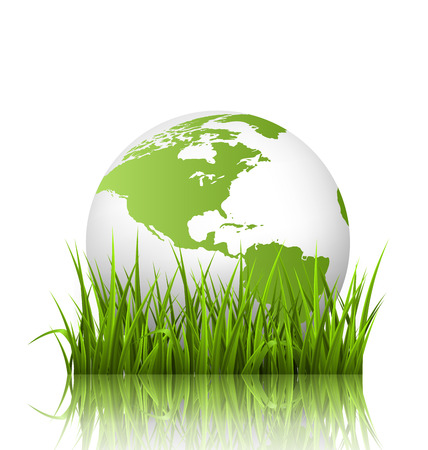 reflexion: Green planet icon with globe and grass on white background Stock Photo