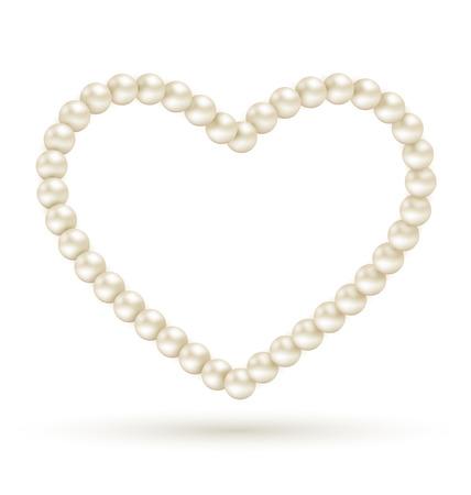 necklet: Pearl heart like frame isolated on white background Illustration