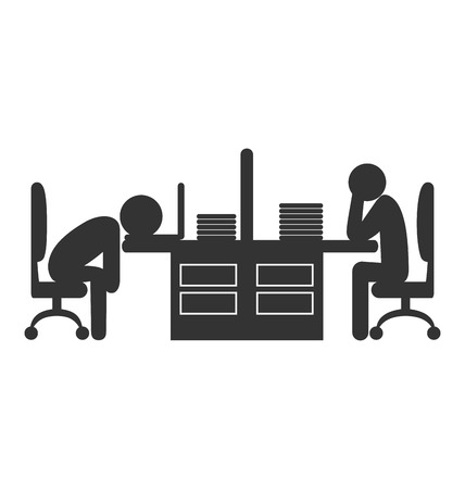 workday: Flat office icon with fizzle out workers isolated on white background Illustration