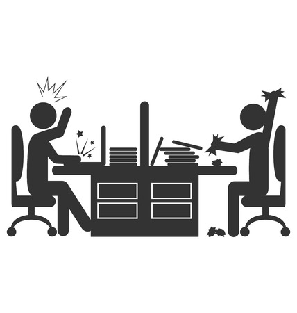 enraged: Flat office icon with angry workers isolated on white background Illustration