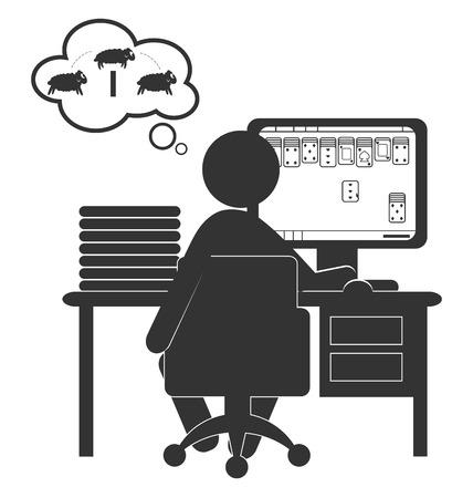 jeu de carte: Flat ic�ne de l'ordinateur avec jeu de cartes isol� sur fond blanc Illustration