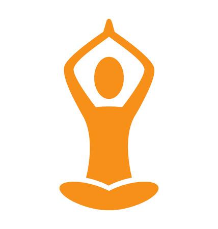 Orange emblem Yoga pose isolated on white background Çizim