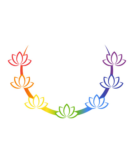 rainbow: Yoga emblem with abstract chakra lotuses isolated on white background