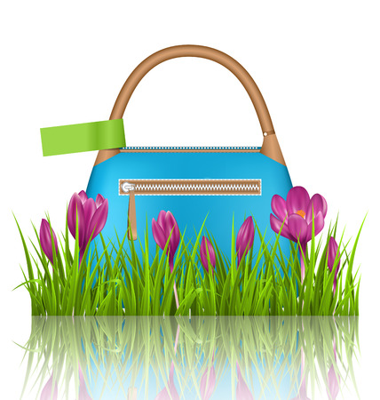 grass lawn: Blue woman spring bag with crocuses flowers and green label in grass lawn with reflection on white background