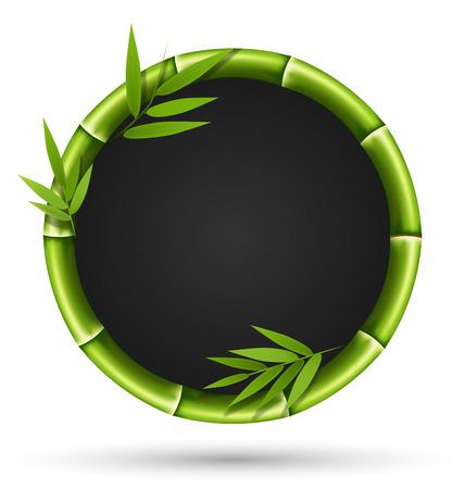 흰색 배경에 고립 된 녹색 대나무 원 프레임 일러스트