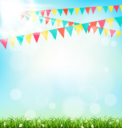 summer: Celebración de fondo con banderines hierba y la luz del sol en el cielo de fondo