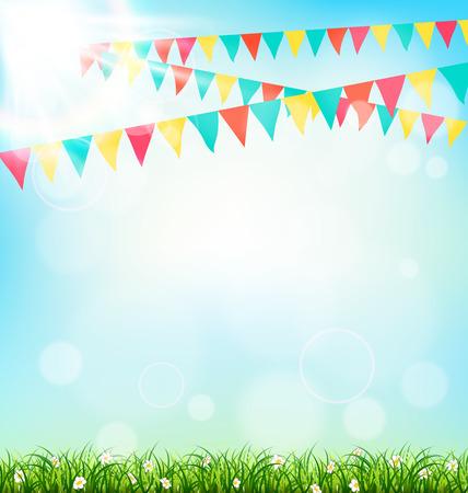 Fundo da celebração com buntings grama e luz solar no fundo do céu