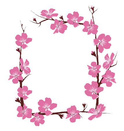 白い背景で隔離の花のフレーム  イラスト・ベクター素材