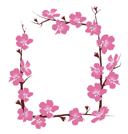 Bloemen frame geïsoleerd op witte achtergrond Stock Illustratie